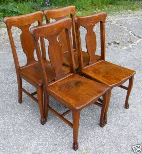Wondrous 4 Quartersawn Oak T Back Dining Room Chairs W Claw Feet Cjindustries Chair Design For Home Cjindustriesco