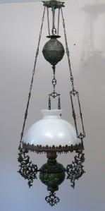 antique majolica bronze hanging oil lamp chandelier. Black Bedroom Furniture Sets. Home Design Ideas